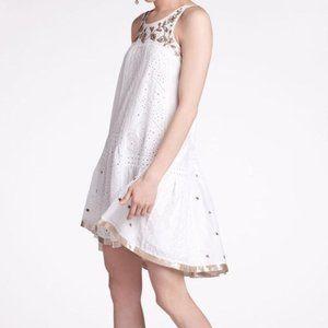 Leifnotes Anthro Aurelie Dress White Eyelet Gold 4